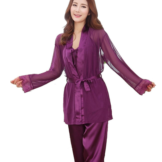 698a4ecd72 Silk Satin Pajamas Set Women Sexy 3 Piece Sleep Suit Silk Pajamas Set of  Pants Spring Summer Nightgown Sleepwear