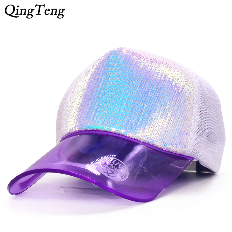 2019 New Summer Purple Magic Sequins Women'S   Baseball     Cap   UV Transparent Visor Hat Casquette Femme Breathable Mesh   Cap   Female
