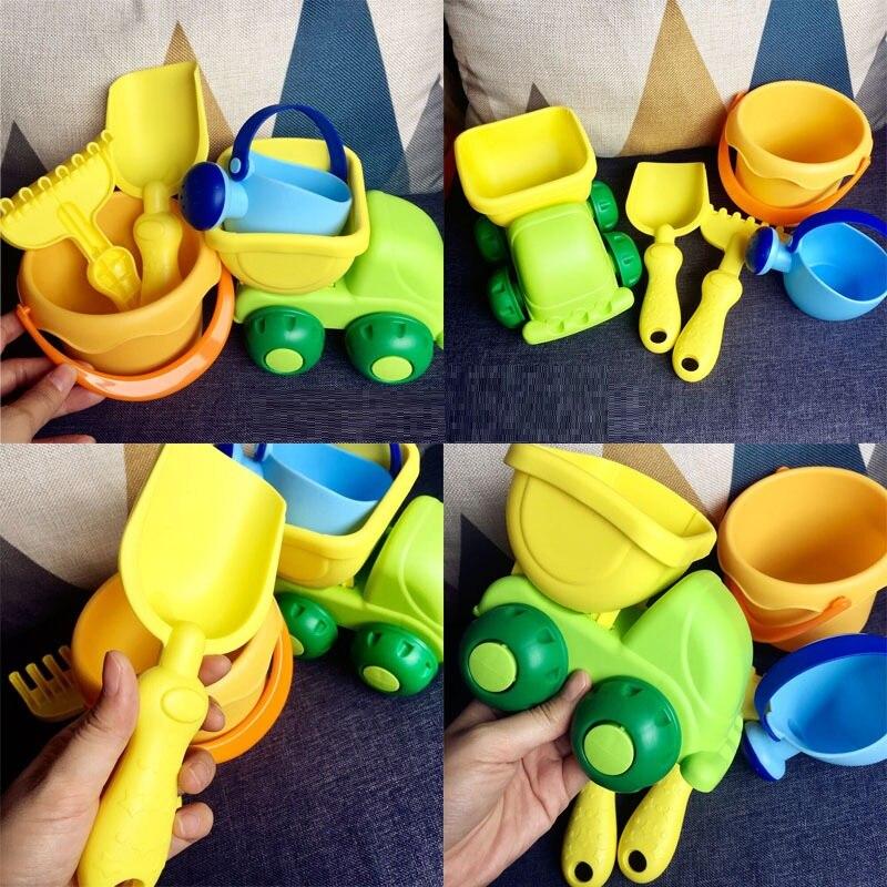 Beach Toys Soft TPE Bucket Sand Shovel Watering Pot Water Wheel Sand Cart Toys Children Summer Water Fun