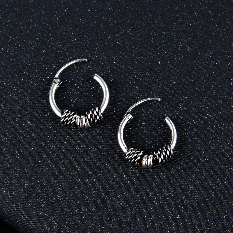 Aliexpress Gypsy Tribal Endless Circle Hoop Earrings Handmade Indian Vintage Thai Silver Color Small Earring Bali Wrap For Women Jewelry From