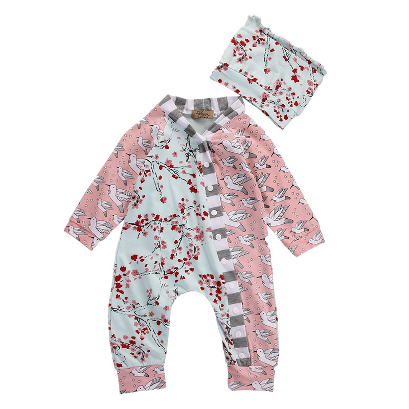Toddler Infant Newborn Baby Girls Boys Clothes Floral Birds One Piece Romper Jumpsuit Hat 2PCS Outfits Casual Clothes Set fashion 2pcs set newborn baby girls jumpsuit toddler girls flower pattern outfit clothes romper bodysuit pants
