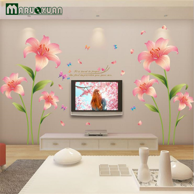 Maruoxuan 2017 New Pink Lilies Flowers Pvc Wall Stickers For Living Rooms Bedroom Kids Rooms Home Decoration Mural Wall Decals