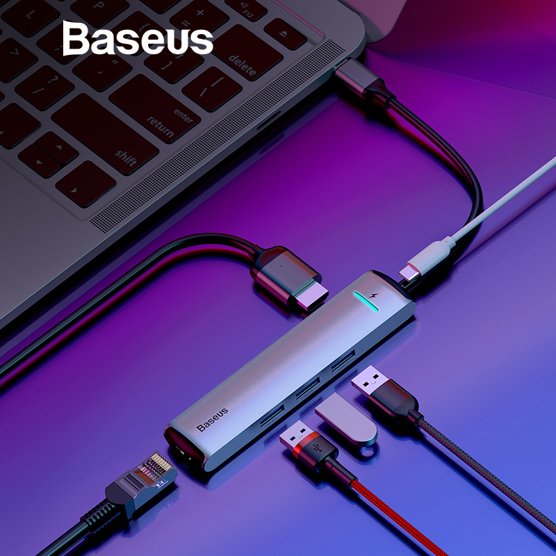 Baseus 6 puertos USB tipo C para USB 3,0 de USB C para MacBook Pro LED USB HUB RJ45 HDMI para samsung S8 S9 Huawei P20 amigo 20 tipo C HUB