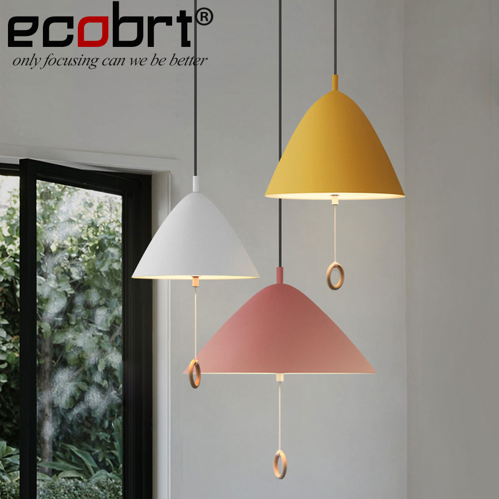 [ECOBRT] Modern Simple Dining room Pendant Lights Fixture in Kitchen Loft creative bedroom Hanging lamps with line switch