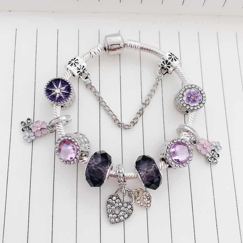 สำหรับสาวของขวัญสัตว์ Mickey Charm กำไลและกำไลผู้หญิงเครื่องประดับ Minnie Pink Bow-Knot จี้ยี่ห้อสร้อยข้อมือ DIY handmade
