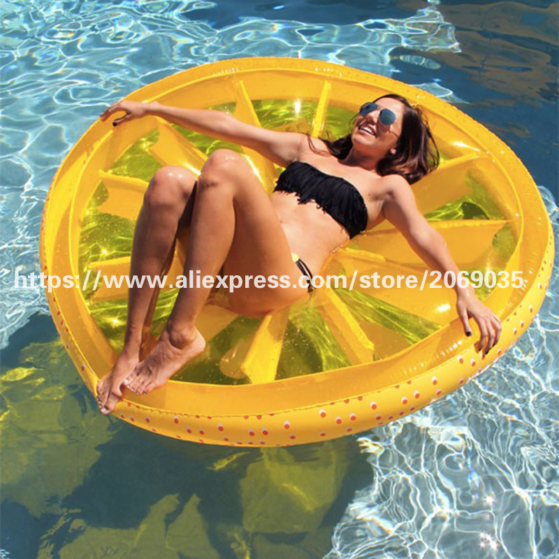 160CM 60Inch Giant Lemon Slice Pool Float Yellow Air Lounge Fun Super Large Fruit Inflatable Floating Beach Toys Water Plaything