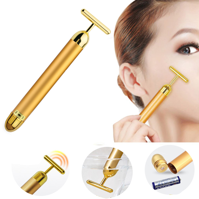 Face-lift Roller Massager 24K Gold Face Massage Instrument Beauty Skin Care Tool For Face Lifting Anti Wrinkle Remove Eye Bags