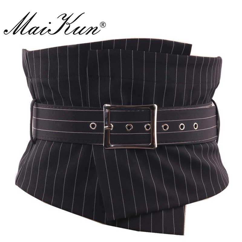 Maikun женские ремни в стиле европейский полосатые широкие ремни для женщин нерегулярные плед пояса винтажная ткань с пряжкой булавки для элегантного платья