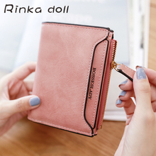 Rinka doll Simple Designer Slim Women Short Wallet Hasp Zipper PU Leather Coin Purses Purse Mini Clutch Womens Wallets #Q340