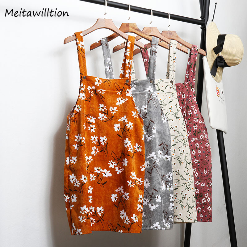 2019 Retro Corduroy Dress Women Suspender Sundress Sarafan Ladies A Line Vest Overall Dress Female Korean Fashion Women Clothing(China)