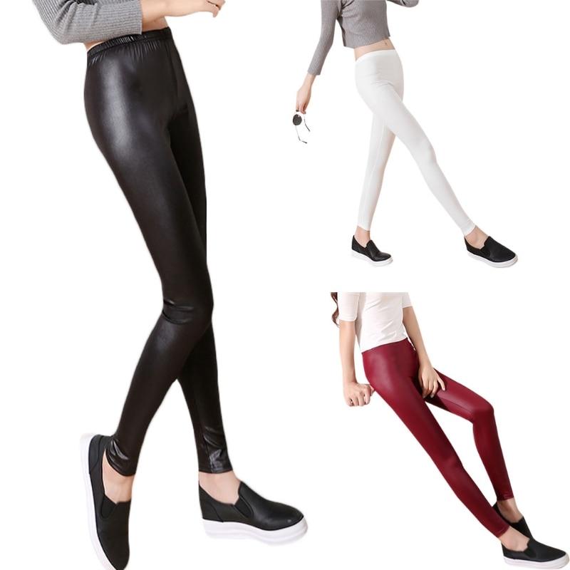 Fashion Casual Leather Leggings Sexy Women Cropped Elastic Leggins Thin Leggings