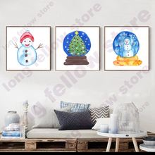 Watercolor Canvas Print Snowman Cartoon Artwork Wall Art Picture for Living Room Home Decor Christmas Crystal Ball Abstract