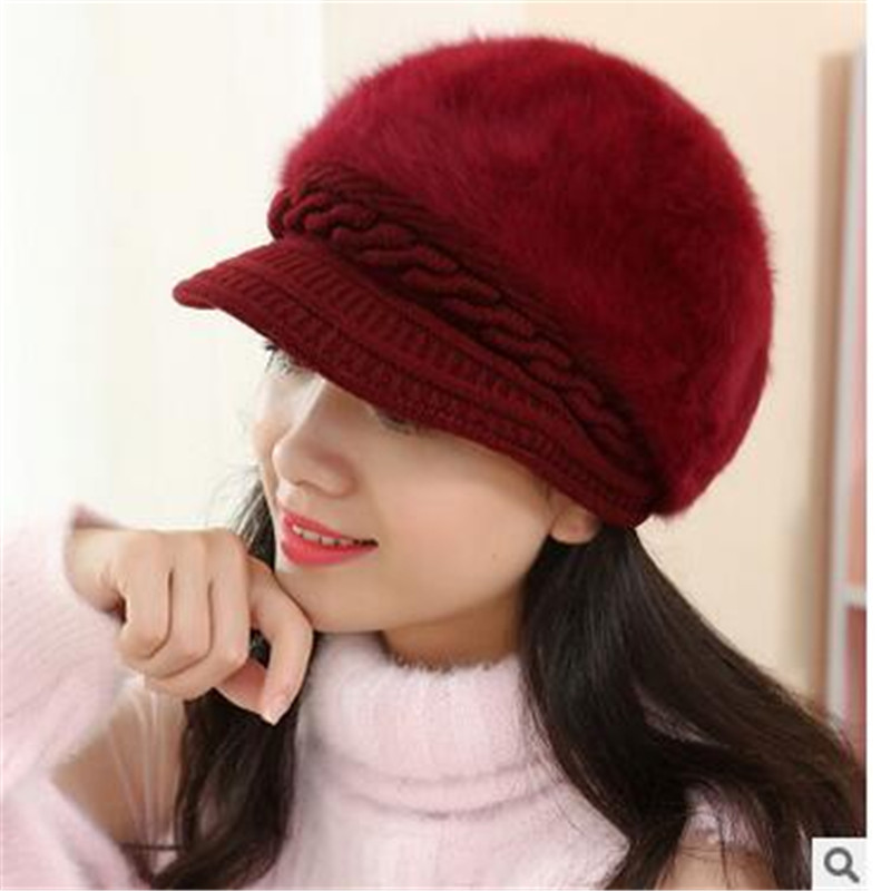 Winter hat female rabbit hat cap autumn and winter fashion solid color duck tongue beret helmet gorros mujer invierno fashion winter hat solid color woolen flat top cap unisex autumn and winter cap w005