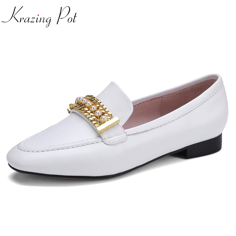 Krazing Pot full grain leather women flats square toe slip on high fashion casual preppy style pearl metal fasteners shoes L34 cresfimix women cute spring summer slip on flat shoes with pearl female casual street flats lady fashion pointed toe shoes