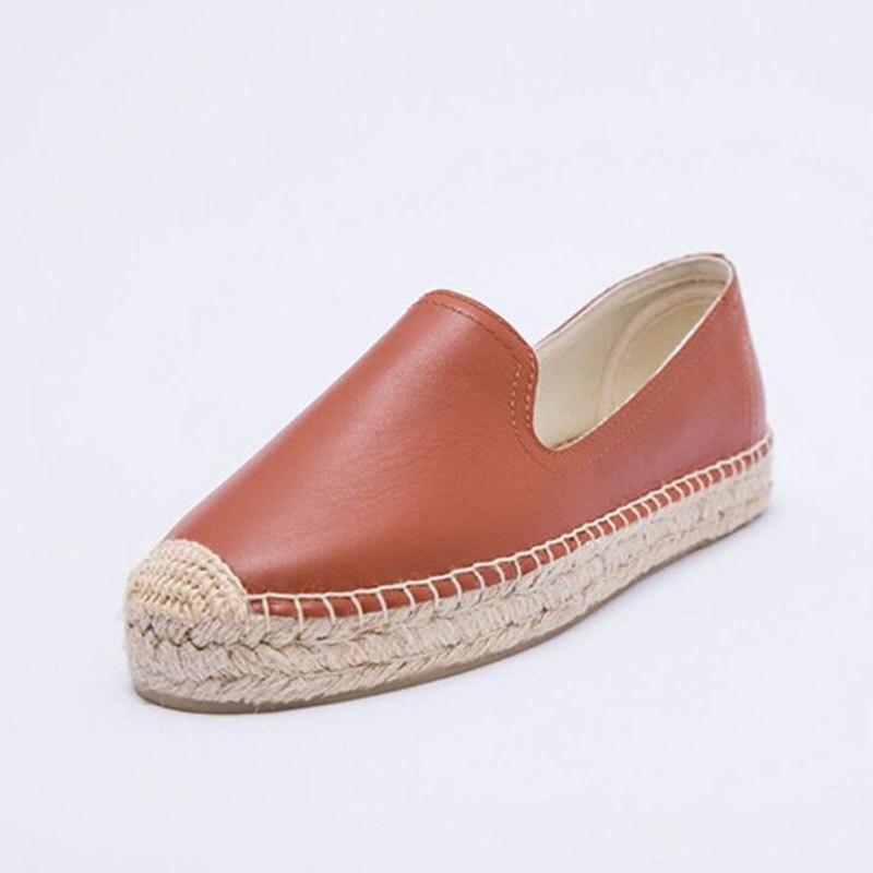 2019 D'été En Cuir Véritable Espadrilles Plates Mocassins sans lacet décontracté Plage Chaussures faites à La Main Chanvre Semelle Plate-forme Chaussures