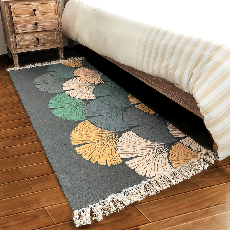 French carpet romantic bedside bed bedroom mat floor mat square cotton and linen personality plant bed tail household mat CL0328French carpet romantic bedside bed bedroom mat floor mat square cotton and linen personality plant bed tail household mat CL0328