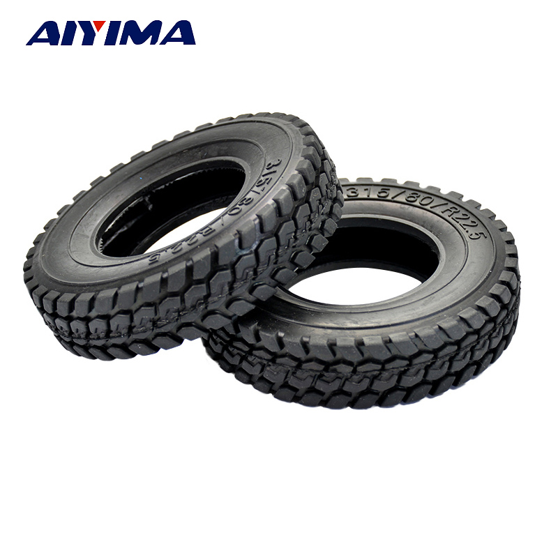 AIYIMA 4pcs RC Hard Tires 4pc 22mm Type For Tamiya 1/14 Scale Tractor truck 1 14 tamiya semi container trailer