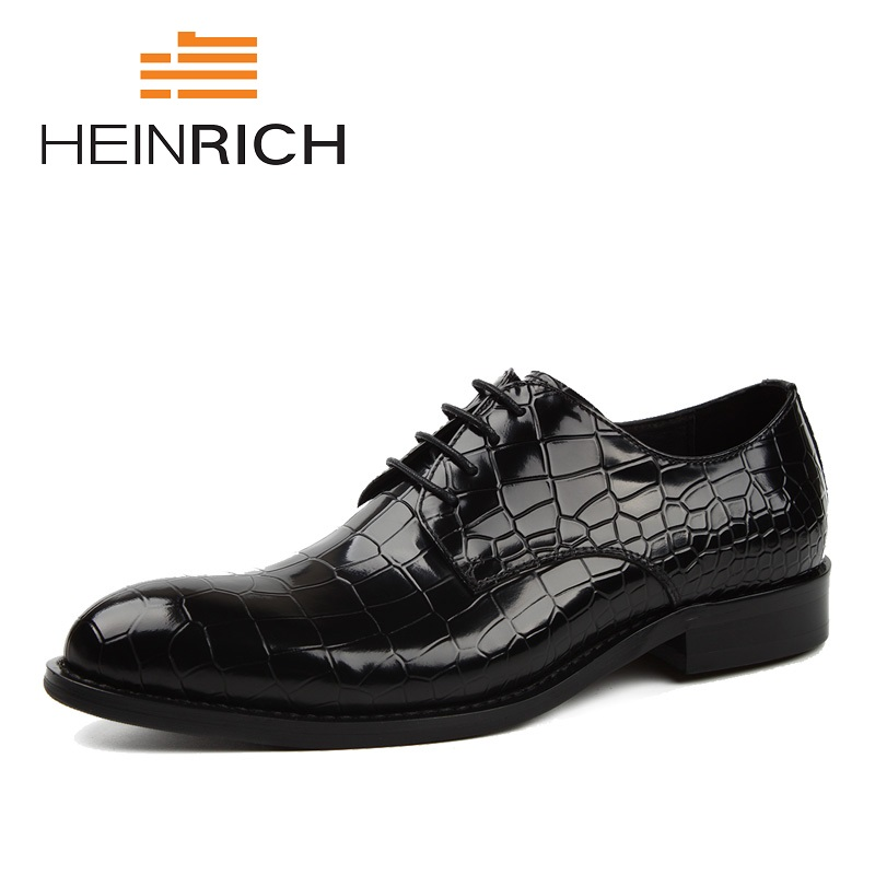 HEINRICH Genuine Leather Men Flats Business Brand Leather Men Shoes Design Dress Shoes Men Crocodile Skin Derby Formal ShoesHEINRICH Genuine Leather Men Flats Business Brand Leather Men Shoes Design Dress Shoes Men Crocodile Skin Derby Formal Shoes