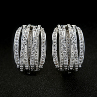Fashion Luxurious Many Lines Cross High Quality Top Level Micro CZ Zircon Temperament Charm Shine Party