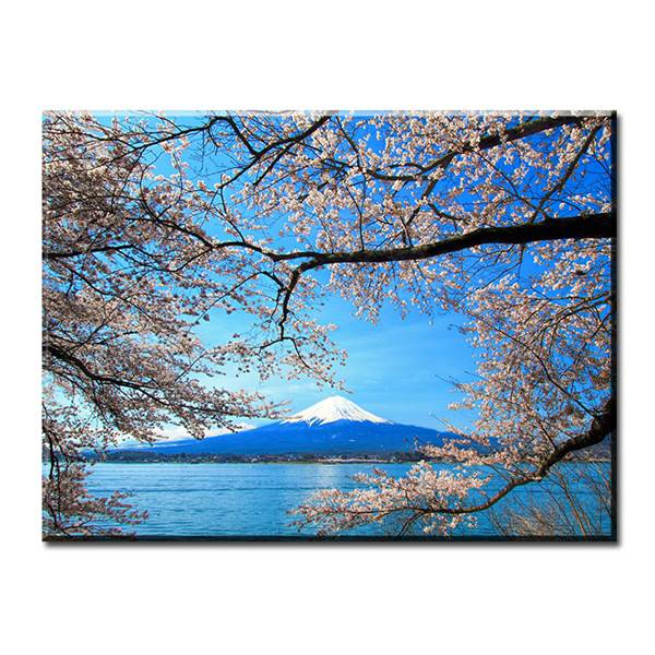 Sakura and mount fuji art wall painting print on canvas for Home interiors and gifts framed art
