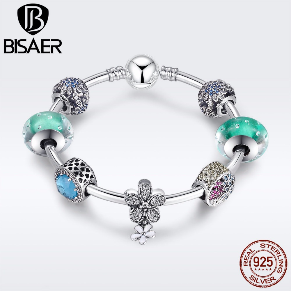 925 Sterling Silver Green Glass Murano Beads Clover Flower Bracelets Bangles for Women Authentic Original Silver Jewelry EDB017 ethnic wind bracelets men and women decorations green agate 925 silver ball duobao string original jewelry