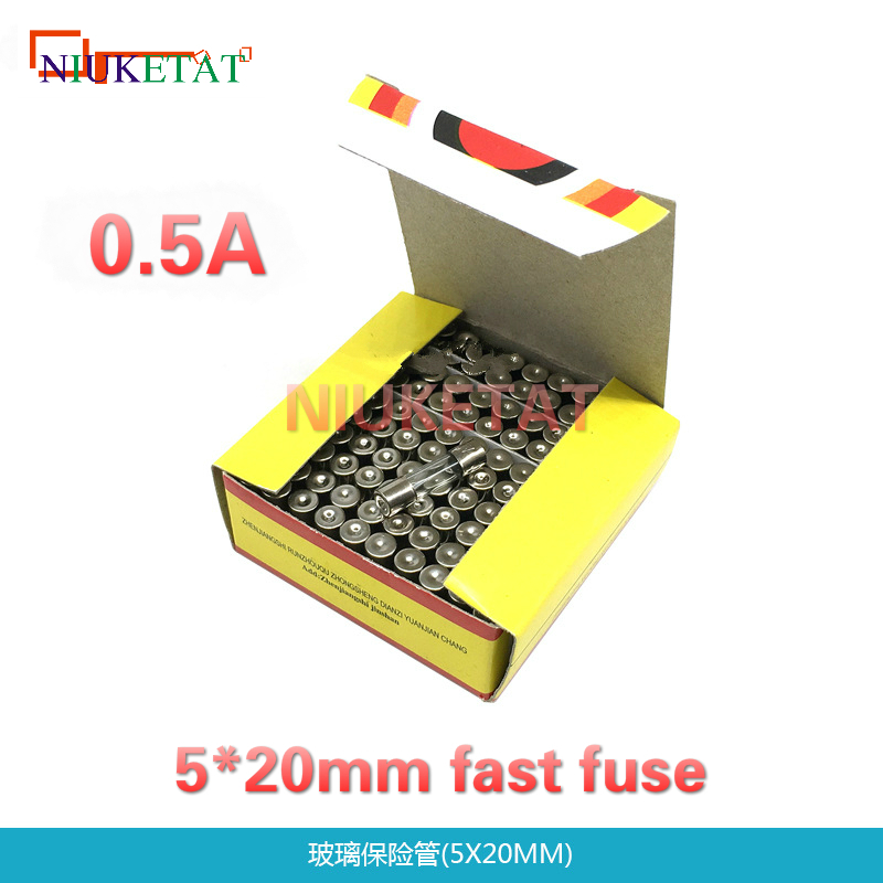 100pcs/box 5*20mm 0.5A 250V Fast fuse 5*20 F0.5A 500mA 250V Glass Fuse 5mm*20mm glass fuse New and original 100pcs lm338t lm338 to 220 new and original