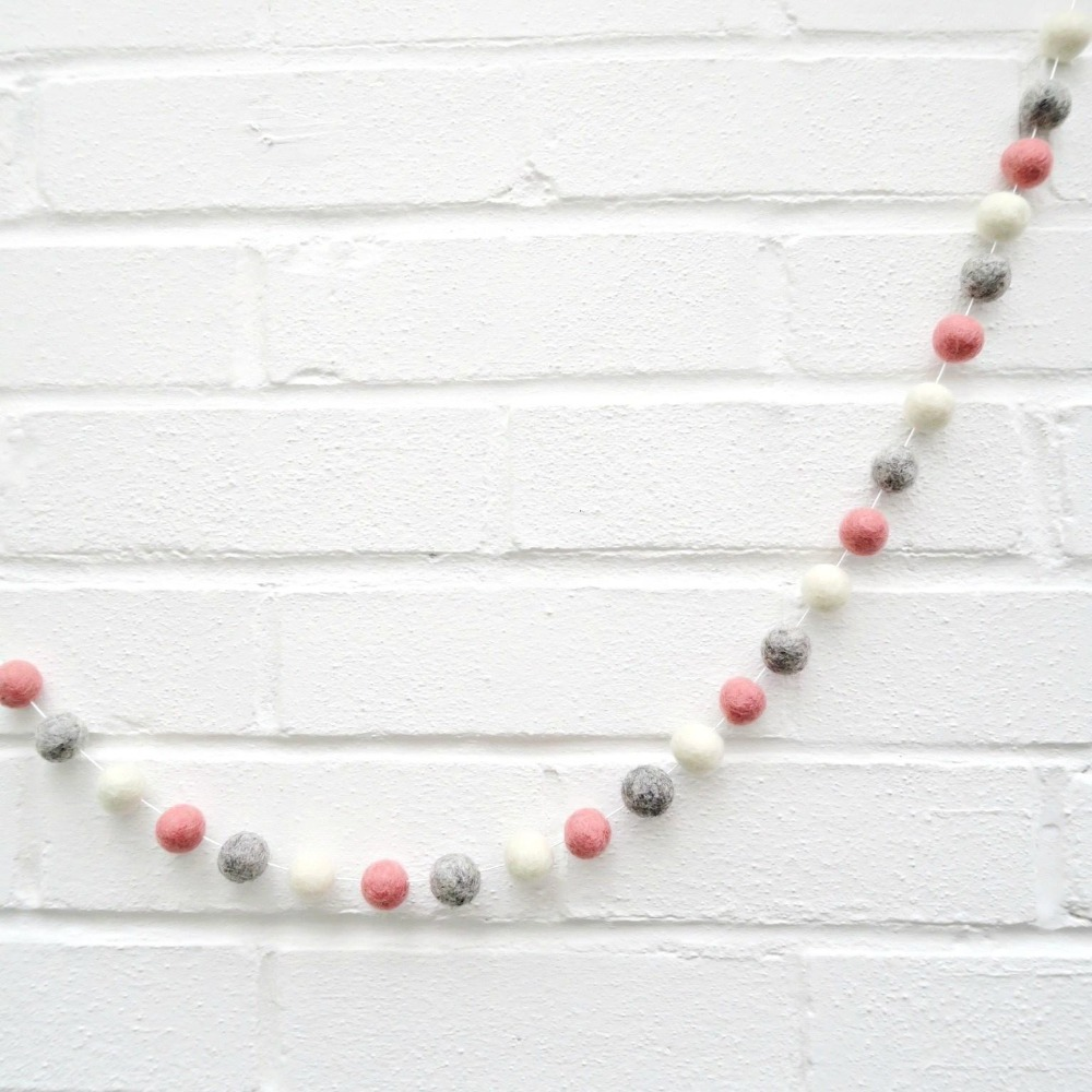 Handmade Wall Felt Pom Garland Scandinavian Style Home House Decor Children Kids Baby Room Hanging Decoration Color Balls String in Beads Toys from Toys Hobbies