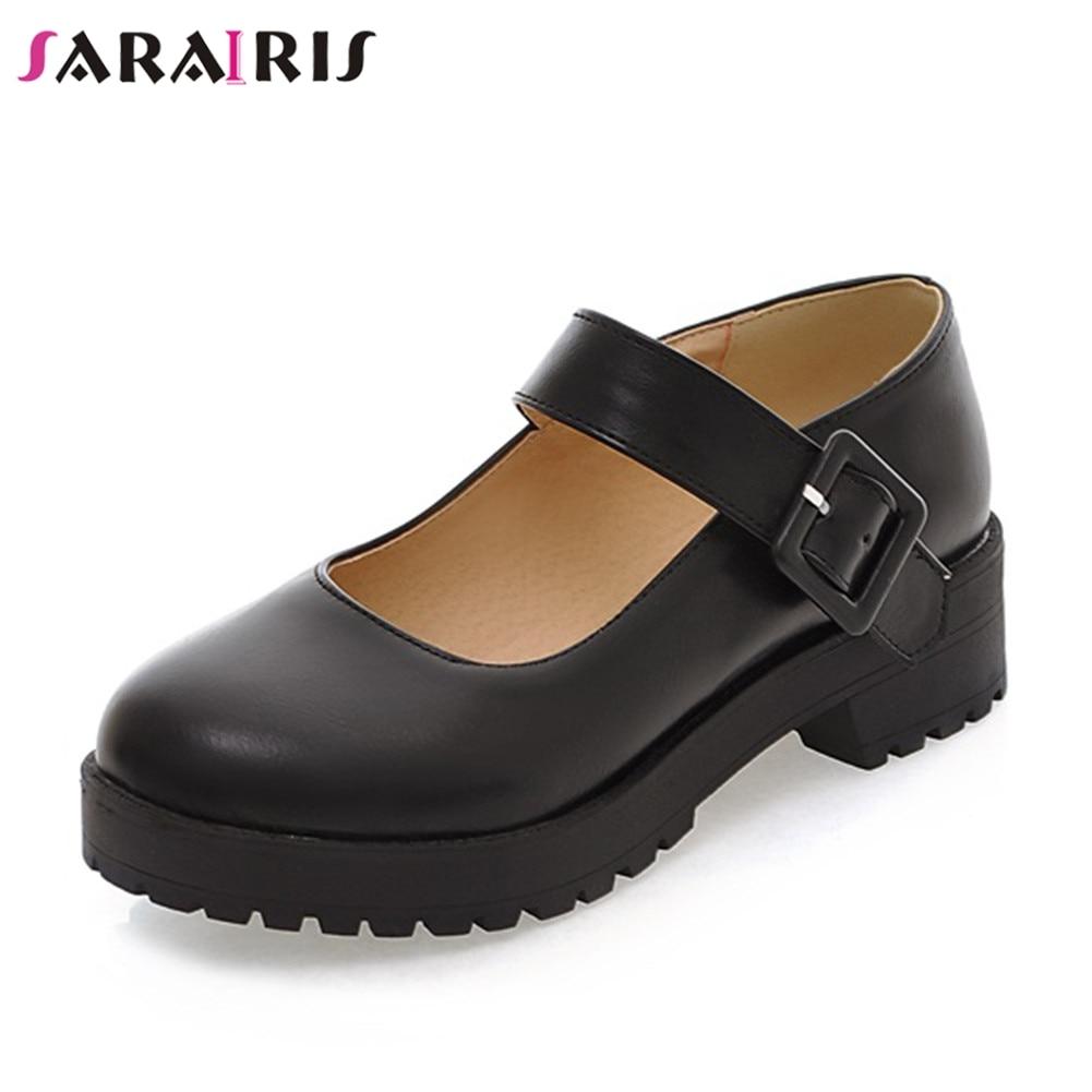 SARAIRIS Big Size 34-43 New 4 Cm Wide Heels Mary Janes Pumps Women Elegant Shallow Shoes Woman Casual Office Lady Autumn Pumps