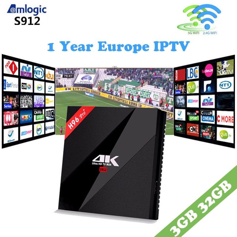 French IPTV Box H96 PRO+3G 32G Amlogic S912 Quad Core Android 7.1 TV Box+ iptv 1 year 2000+ Europe germany sweden Set Top Box iptv evpad pro