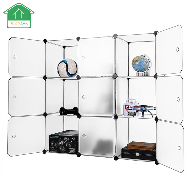PRWMAN New Multi Use DIY Magic Piece of Resin Organizer Wardrobe Closet Bookcase Storage Cabinet With Transparent Panel Design