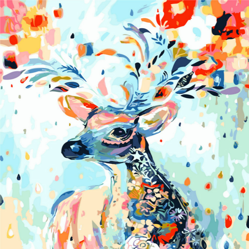 Diy digital oil painting hand painted core living room landscape oil painting frameless decorative painting 40 * 50 rainbow deer