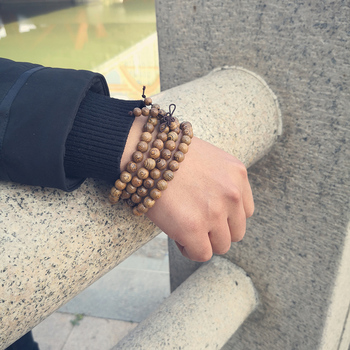 Mala Bracelet Tibetain En Perles De Bois Pour Homme