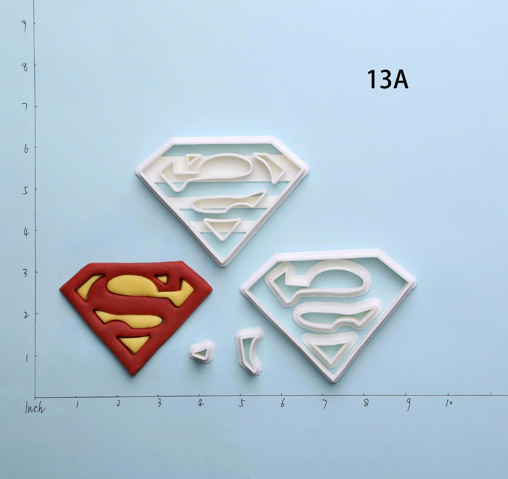 Super Hero Logo Super Man Cookie Cutter 3D Printed Cake Cutter Set Made Custom Cake Decoration Tools Cortadores De Fondant in Cookie Tools from Home Garden