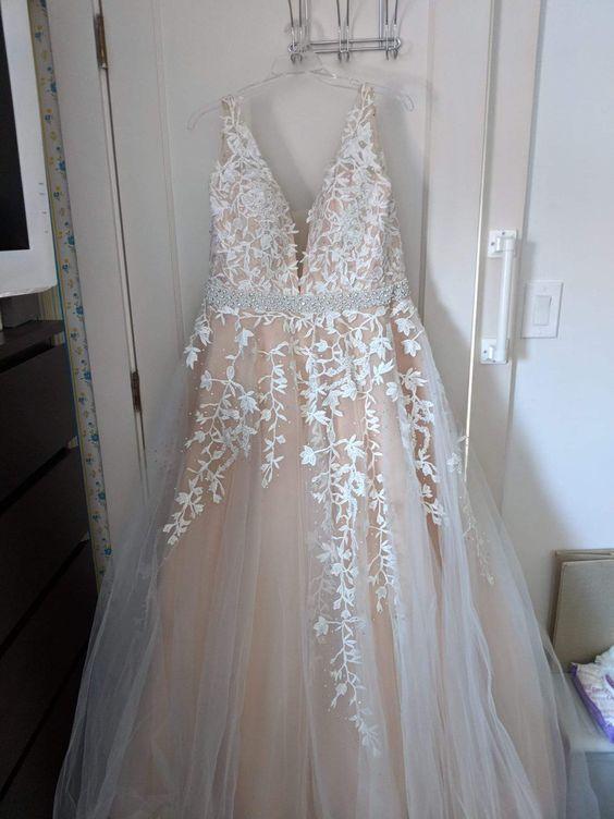 Chic belles robes de bal longue a-ligne col en V appliques robe de bal robes de soirée perles ceinture pêche robe formelle - 2