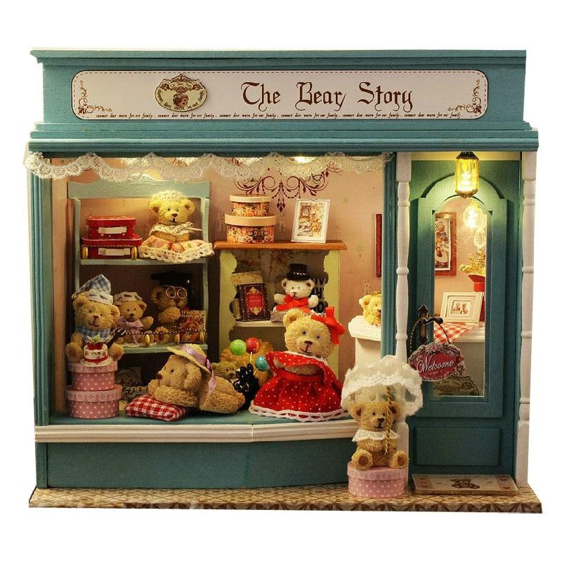 Promotion décoration de la maison artisanat bricolage maison de poupée en bois, papier, plastique, tissu maisons Miniature Kit de meubles de maison de poupée
