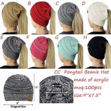 eaec622babe 2018 New Trendy CC Warm Winter Hat For Women Ponytail Beanie Stretch Cable  Knit Messy Bun