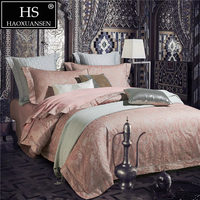 Egyptian Cotton Paisley Jacquard Duvet Cover Set Bedding 400 Thread Count 4Pcs Queen King Size Pale Pink Bed sheet Pillowcase