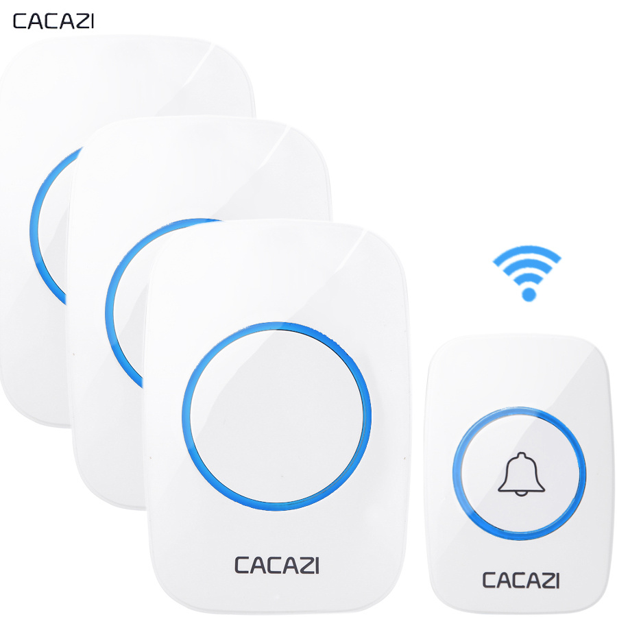 CACAZI New Wireless Doorbell Waterproof 300M Remote EU AU UK US Plug Door Bell Chime 110V 220V music 1 transmitter 3 receiver wireless cordless digital doorbell remote door bell chime waterproof eu us uk au plug 110 220v
