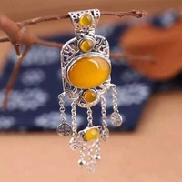 925 Sterling Silver Genuine Natural stone Pendant Silver Yellow tassel sweater pendant