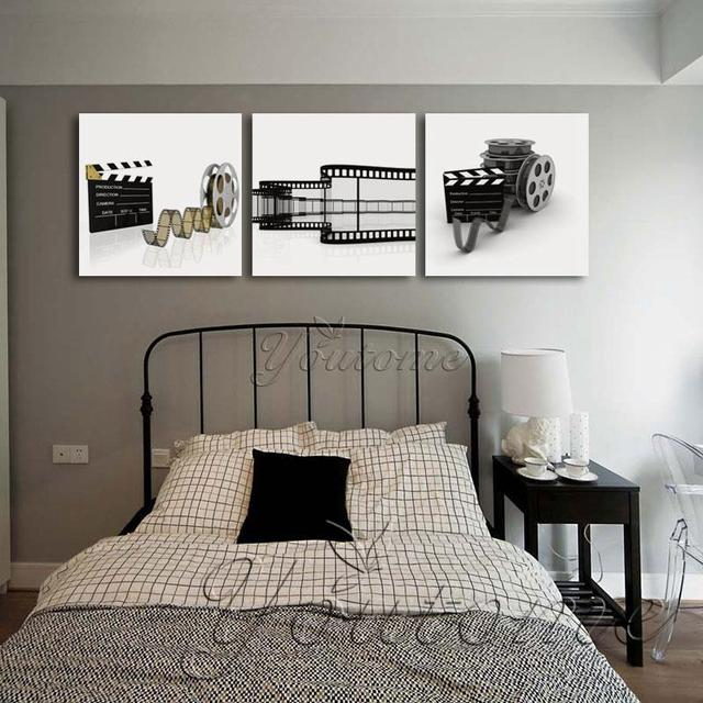3 panel zwart wit movie cuadros prints abstracte canvas wall picture goedkope moderne schilderen voor