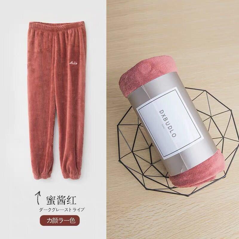 Зимние фланелевые длинные штаны для сна; Толстая Теплая Повседневная Домашняя одежда; повседневные пижамные брюки; мягкие свободные брюки; одежда для сна - Цвет: Pants-Red