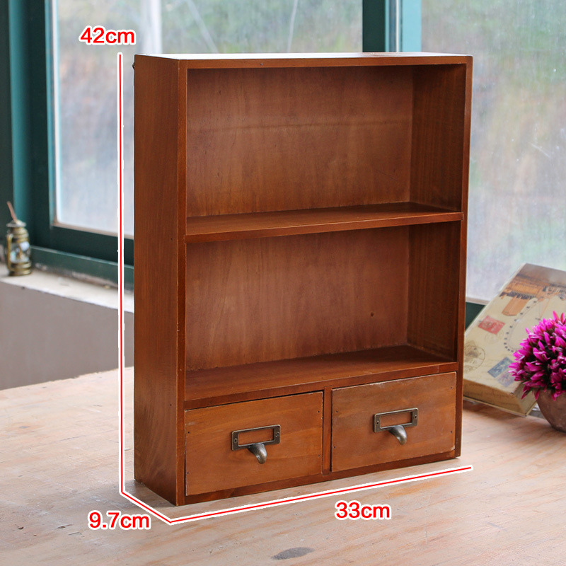 Retro Wooden Storage Boxes With 2 Small Drawers Type Storage Cabinet Retro  Wooden Hanging Finishing Articles Home Storage Box In Storage Holders U0026  Racks ...