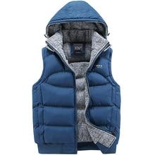 New Stylish Autumn Winter Vest Men High Quality Hood Warm Sleeveless Jacket Waistcoat Men Asian Size