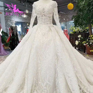 Image 3 - AIJINGYU Wedding Gowns With Sleeves Buy Gown Online Imported Romantic Love Train Dresses Satin New Wedding Dress