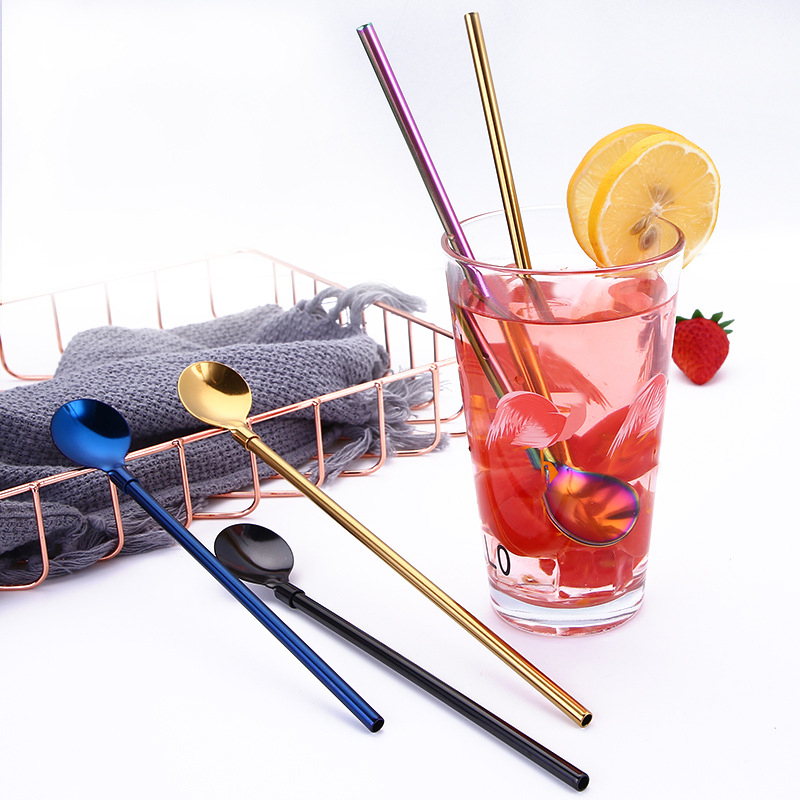 Stainless Steel Drinking Straw Spoon Filter Mate Straws Gourd Reusable Tools Practiacl Washable Bar Accessories (16)