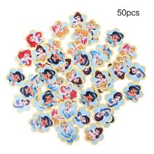 50pcs Mixed Cartoon Painting Wooden Sewing Buttons For Handicraft Scrapbooking Clothing Accessories DIY 25mm