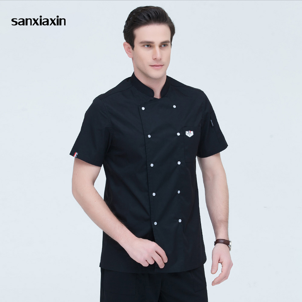 Sanxiaxin Kitchen Chef Uniform Food Service Wholesale 4 Colors Short Sleeve Double Breasted Bakery Cook Wear Chef Jacket & Apron