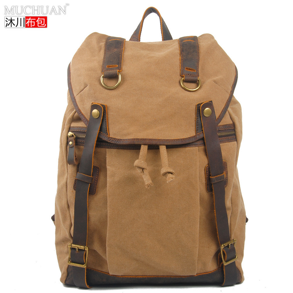Muchuan Cloth European Restore Ancient Both Shoulders Package Canvas With Crazy Horsehide Backpack Leisure Travelling Bag