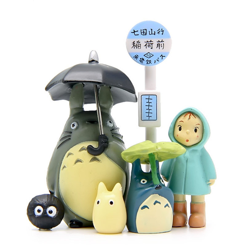 6pcs/set Resin Hayao Miyazaki Totoro Bus Station Scene Micro Landscape Decoration Ornaments Desktop Garden Flower Pot Decor Gift