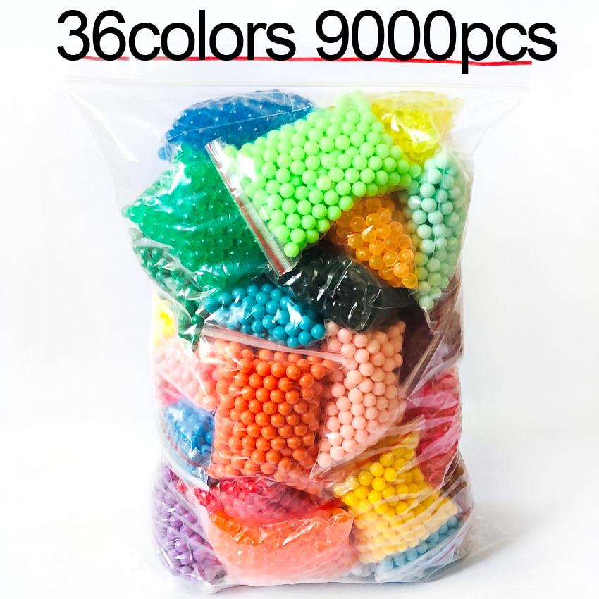 DOLLRYGA 36 colors 9000pcs/bag Pegboard Sticky Water Beads Fuse Jigsaw aqua Puzzle Beadbond Educatio